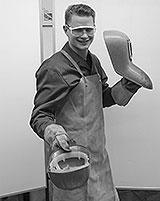 Schweißschürze und Helm