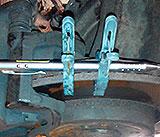 Laserpointer zum Einstellen des Fahrwerks